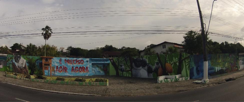 """Mural de grafite pela criação do Corredor Ecológico do Sauim-de-Coleira em Manaus, 2015. O mural foi parte da campanha """"Eu apoio o corredor do sauim"""", realizada pelo Coletivo Ficha Verde."""
